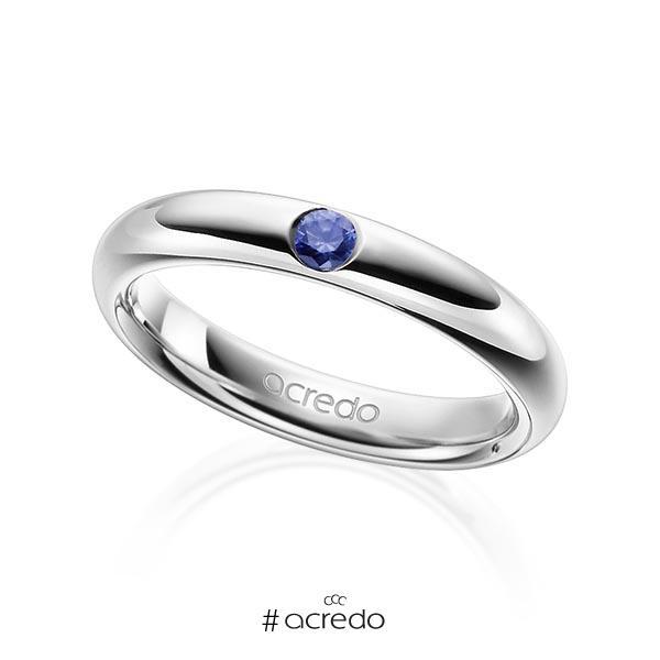 klassischer Trauring/Ehering in Graugold 585 mit zus. 0,08 ct. Brillant Saphir Blau (A 10) von acredo