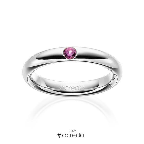 klassischer Trauring/Ehering in Graugold 585 mit zus. 0,08 ct. Brillant Saphir Pink (A 10) von acredo