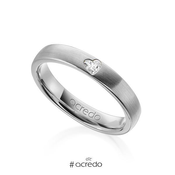 klassischer Trauring/Ehering in Graugold 585 mit zus. 0,08 ct. Herz-Diamant tw, vs von acredo