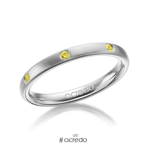 klassischer Trauring/Ehering in Graugold 585 mit zus. 0,14 ct. Brillant gelb von acredo