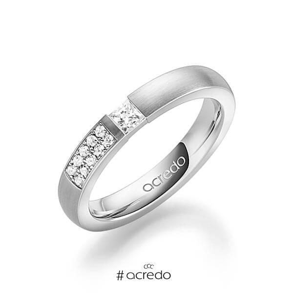 klassischer Trauring/Ehering in Graugold 585 mit zus. 0,25 ct. Prinzess-Diamant & Brillant tw, si von acredo
