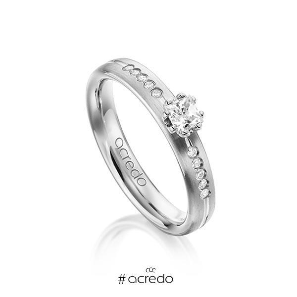 klassischer Trauring/Ehering in Graugold 585 mit zus. 0,33 ct. Prinzess-Diamant & Brillant tw, si von acredo