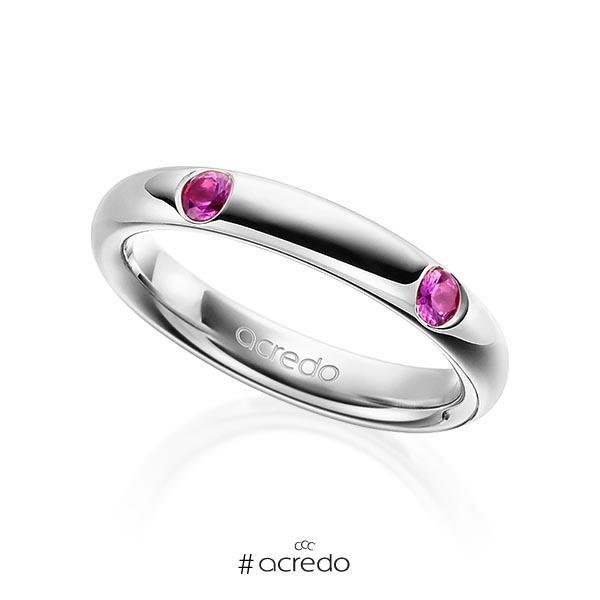 klassischer Trauring/Ehering in Graugold 585 mit zus. 0,4 ct. Brillant Saphir Pink (A 10) von acredo