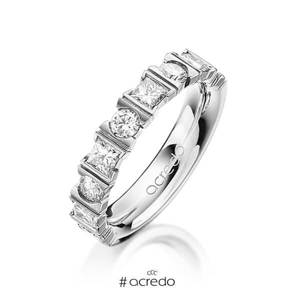 klassischer Trauring/Ehering in Graugold 585 mit zus. 1,2 ct. Brillant & Prinzess-Diamant tw, vs von acredo