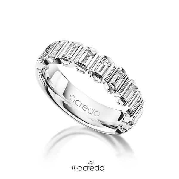klassischer Trauring/Ehering in Platin 950 mit zus. 1,2 ct. Baguette-Diamant tw, vs von acredo