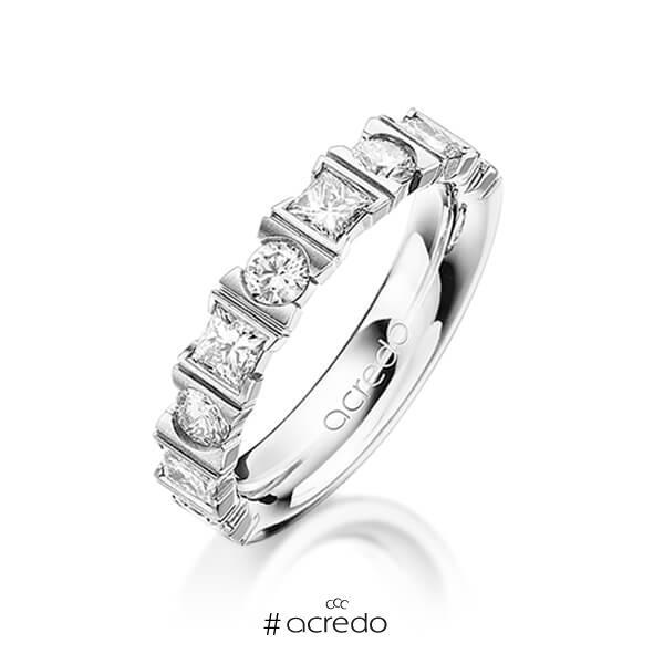 klassischer Trauring/Ehering in Platin 950 mit zus. 1,2 ct. Brillant & Prinzess-Diamant tw, vs von acredo