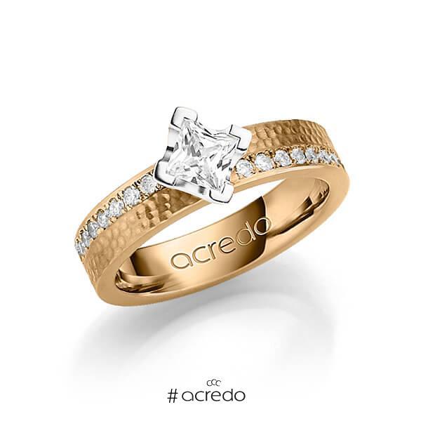klassischer Trauring/Ehering in Roségold 585 gehämmert Struktur mit 0,5 ct. + zus. 0,54 ct. Prinzess-Diamant & Brillant tw, vs tw, si von acredo