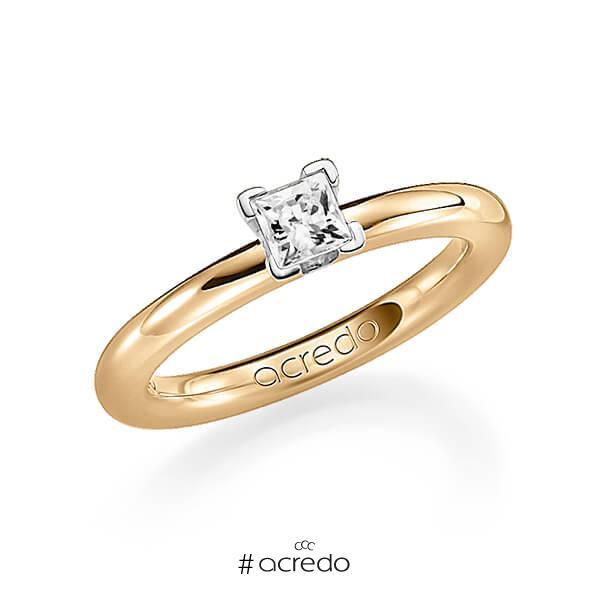 klassischer Trauring/Ehering in Roségold 585 mit 0,4 ct. Prinzess-Diamant tw, vs von acredo