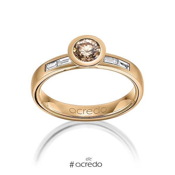 klassischer Trauring/Ehering in Roségold 585 mit 0,5 ct. + zus. 0,24 ct. Brillant & Baguette-Diamant cognac tw, vs von acredo