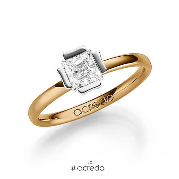 klassischer Trauring/Ehering in Roségold 585 mit 0,7 ct. Prinzess-Diamant tw, vs von acredo