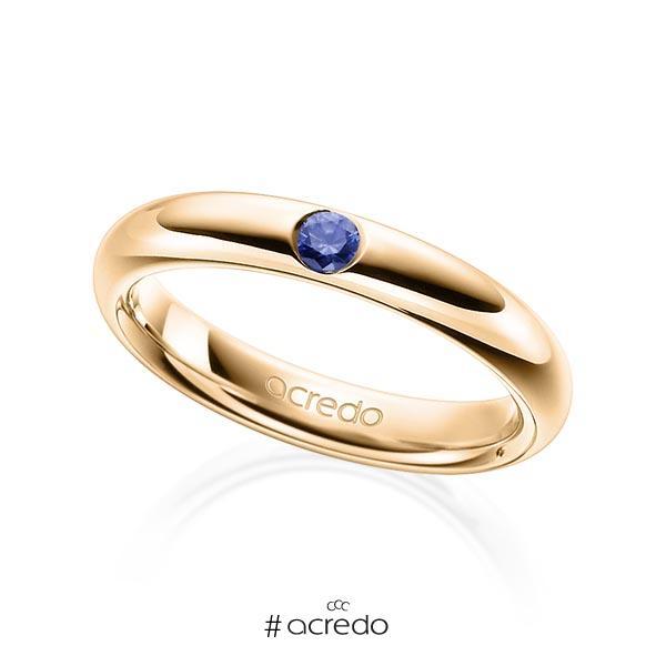 klassischer Trauring/Ehering in Roségold 585 mit zus. 0,08 ct. Brillant Saphir Blau (A 10) von acredo