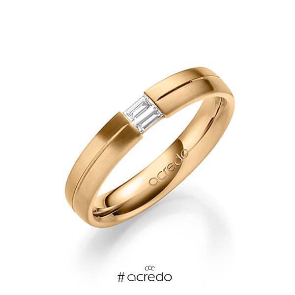 klassischer Trauring/Ehering in Roségold 585 mit zus. 0,1 ct. Baguette-Diamant tw, vs von acredo