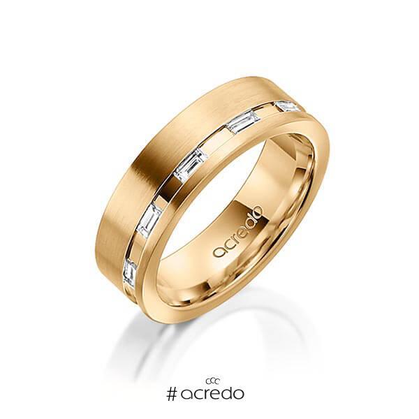 klassischer Trauring/Ehering in Roségold 585 mit zus. 0,25 ct. Baguette-Diamant tw, vs von acredo