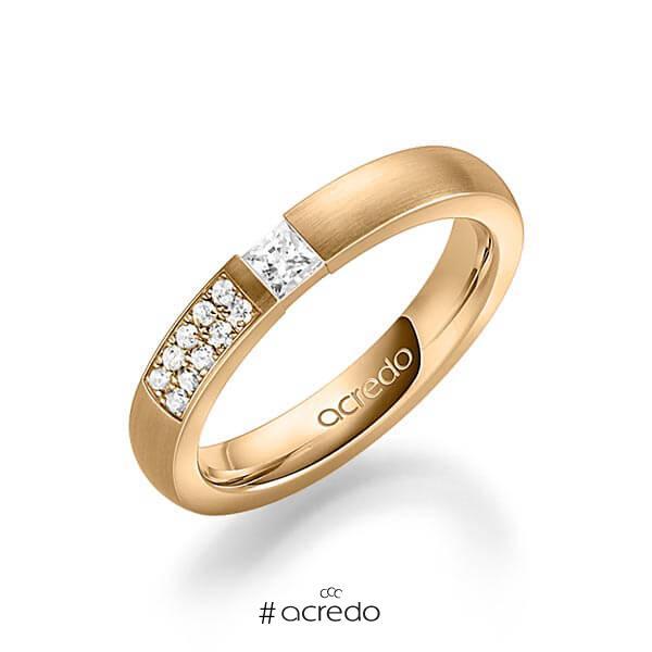 klassischer Trauring/Ehering in Roségold 585 mit zus. 0,25 ct. Prinzess-Diamant & Brillant tw, si von acredo