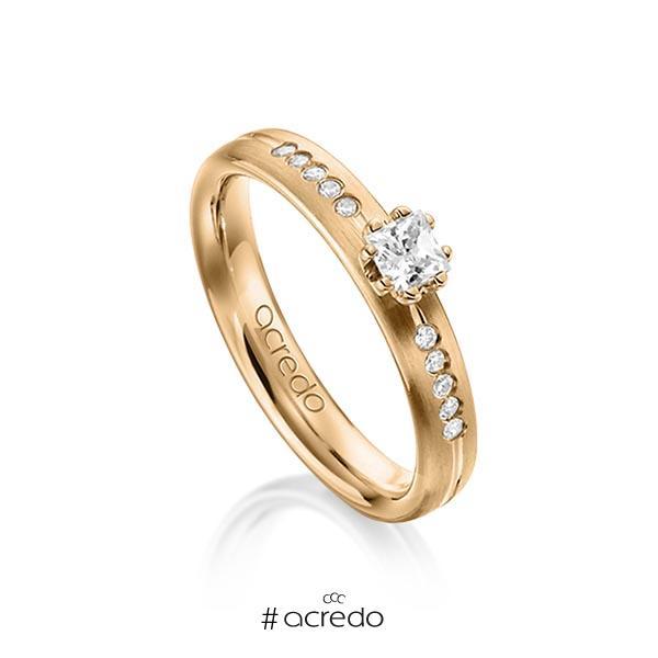 klassischer Trauring/Ehering in Roségold 585 mit zus. 0,33 ct. Prinzess-Diamant & Brillant tw, si von acredo