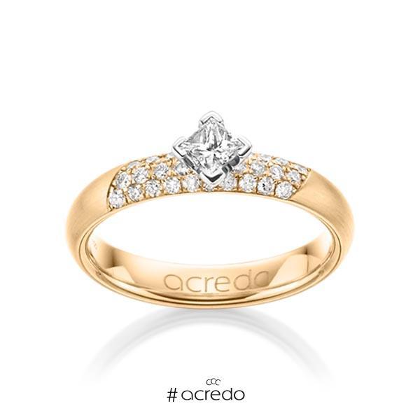 klassischer Trauring/Ehering in Roségold 585 mit zus. 0,52 ct. Brillant & Prinzess-Diamant tw, si von acredo