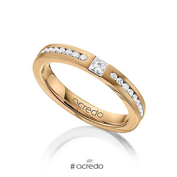 klassischer Trauring/Ehering in Roségold 585 mit zus. 0,72 ct. Brillant & Prinzess-Diamant tw, si von acredo