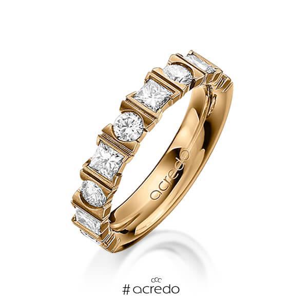 klassischer Trauring/Ehering in Roségold 585 mit zus. 1,2 ct. Brillant & Prinzess-Diamant tw, vs von acredo