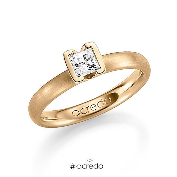 klassischer Trauring/Ehering in Roségold 750 mit 0,4 ct. Prinzess-Diamant tw, vs von acredo