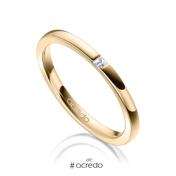 klassischer Trauring/Ehering in Roségold 750 mit zus. 0,03 ct. Prinzess-Diamant tw, si von acredo