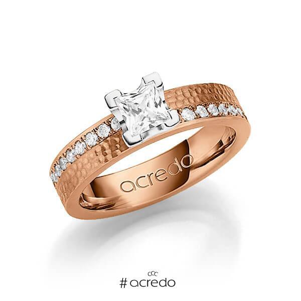klassischer Trauring/Ehering in Rotgold 585 gehämmert Struktur mit 0,5 ct. + zus. 0,54 ct. Prinzess-Diamant & Brillant tw, vs tw, si von acredo