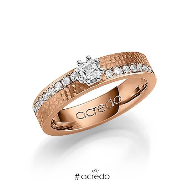 klassischer Trauring/Ehering in Rotgold 585 gehämmert Struktur mit zus. 0,74 ct. Prinzess-Diamant & Brillant tw, si von acredo