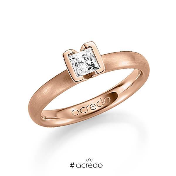 klassischer Trauring/Ehering in Rotgold 585 mit 0,4 ct. Prinzess-Diamant tw, vs von acredo