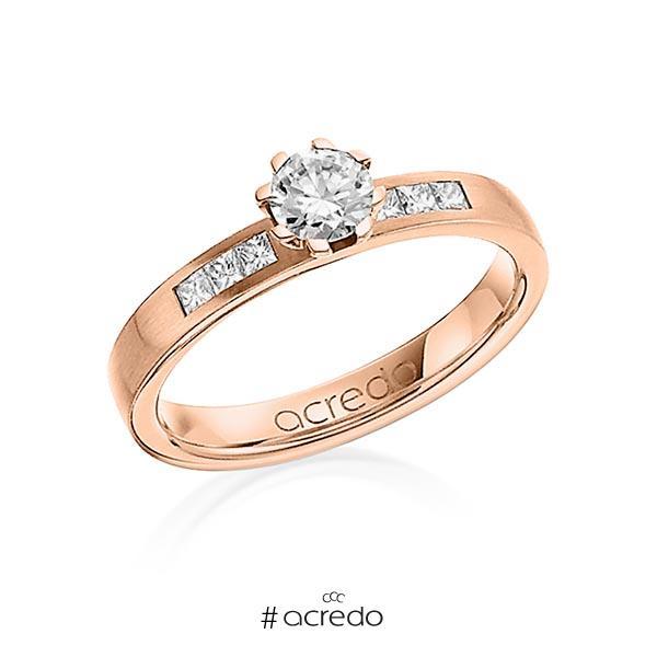 klassischer Trauring/Ehering in Rotgold 585 mit 0,4 ct. + zus. 0,18 ct. Brillant & Prinzess-Diamant tw, vs tw, si von acredo
