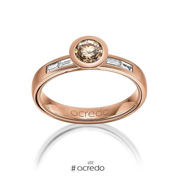 klassischer Trauring/Ehering in Rotgold 585 mit 0,5 ct. + zus. 0,24 ct. Brillant & Baguette-Diamant cognac tw, vs von acredo