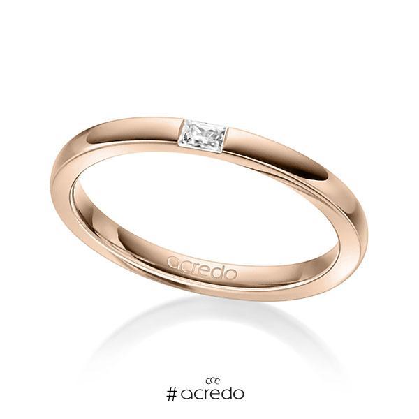 klassischer Trauring/Ehering in Rotgold 585 mit zus. 0,07 ct. Baguette-Diamant tw, vs von acredo