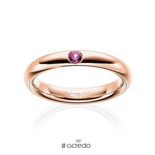klassischer Trauring/Ehering in Rotgold 585 mit zus. 0,08 ct. Brillant Saphir Pink (A 10) von acredo
