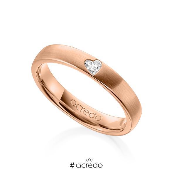 klassischer Trauring/Ehering in Rotgold 585 mit zus. 0,08 ct. Herz-Diamant tw, vs von acredo