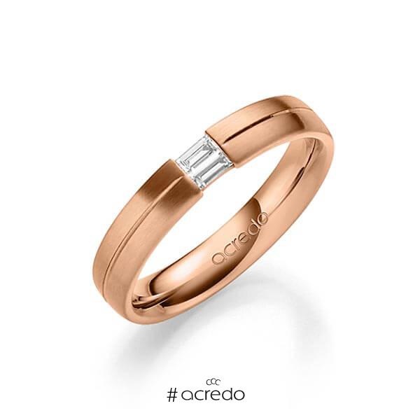 klassischer Trauring/Ehering in Rotgold 585 mit zus. 0,1 ct. Baguette-Diamant tw, vs von acredo