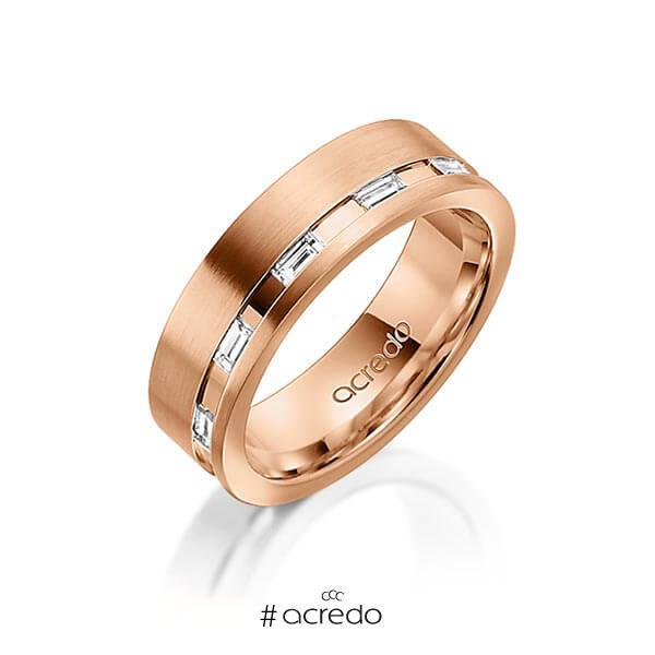 klassischer Trauring/Ehering in Rotgold 585 mit zus. 0,25 ct. Baguette-Diamant tw, vs von acredo