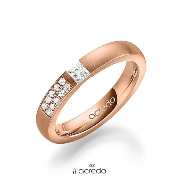 klassischer Trauring/Ehering in Rotgold 585 mit zus. 0,25 ct. Prinzess-Diamant & Brillant tw, si von acredo