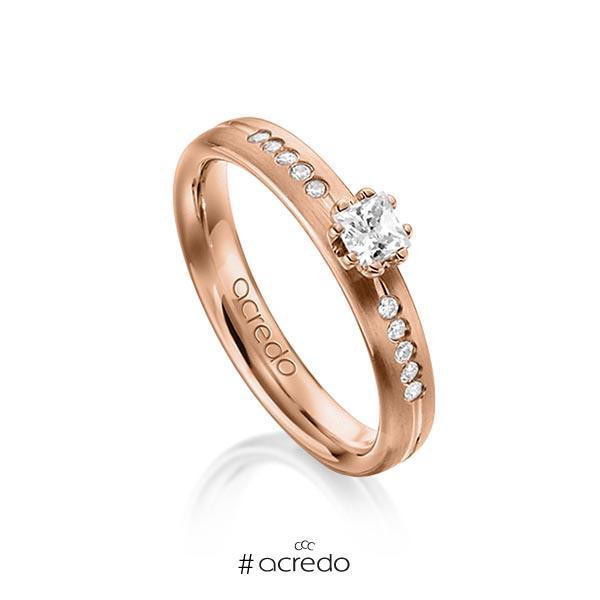 klassischer Trauring/Ehering in Rotgold 585 mit zus. 0,33 ct. Prinzess-Diamant & Brillant tw, si von acredo