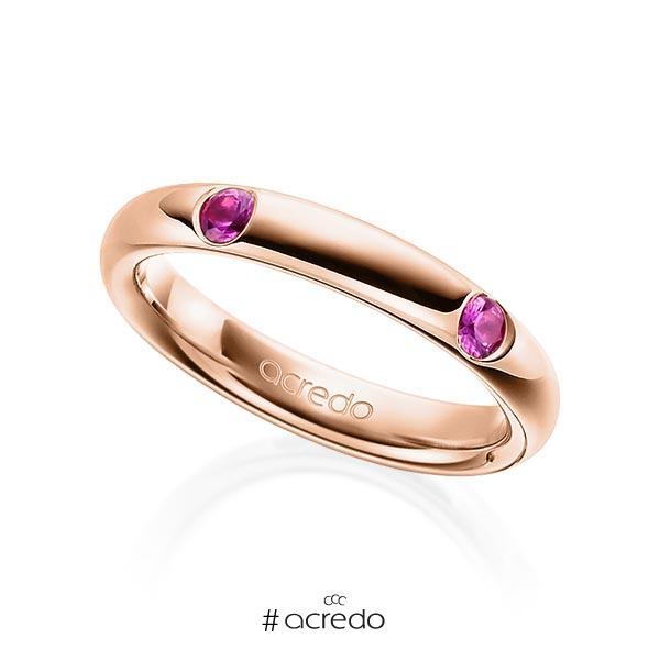 klassischer Trauring/Ehering in Rotgold 585 mit zus. 0,4 ct. Brillant Saphir Pink (A 10) von acredo