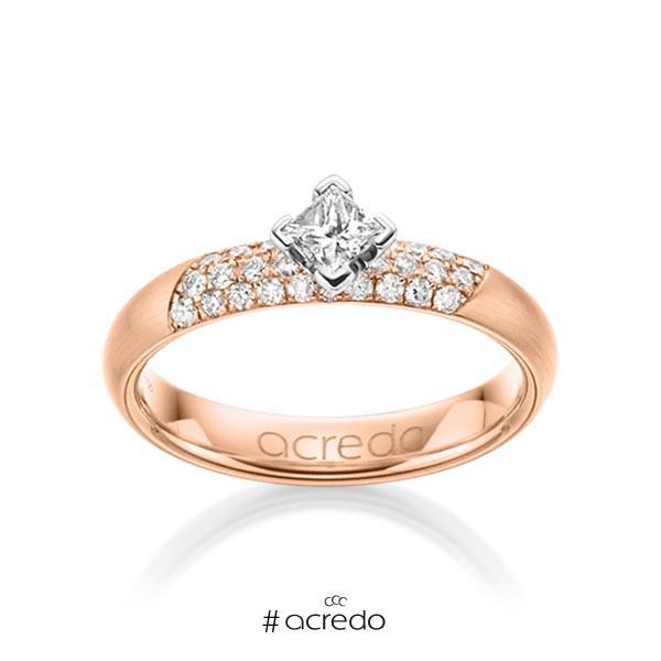 klassischer Trauring/Ehering in Rotgold 585 mit zus. 0,52 ct. Brillant & Prinzess-Diamant tw, si von acredo