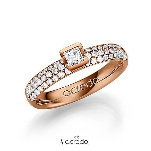 klassischer Trauring/Ehering in Rotgold 585 mit zus. 0,582 ct. Brillant & Prinzess-Diamant tw, si tw, vs von acredo