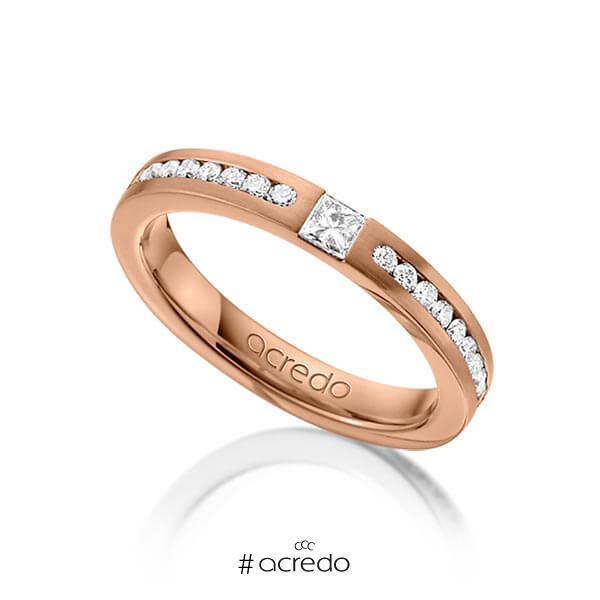 klassischer Trauring/Ehering in Rotgold 585 mit zus. 0,72 ct. Brillant & Prinzess-Diamant tw, si von acredo