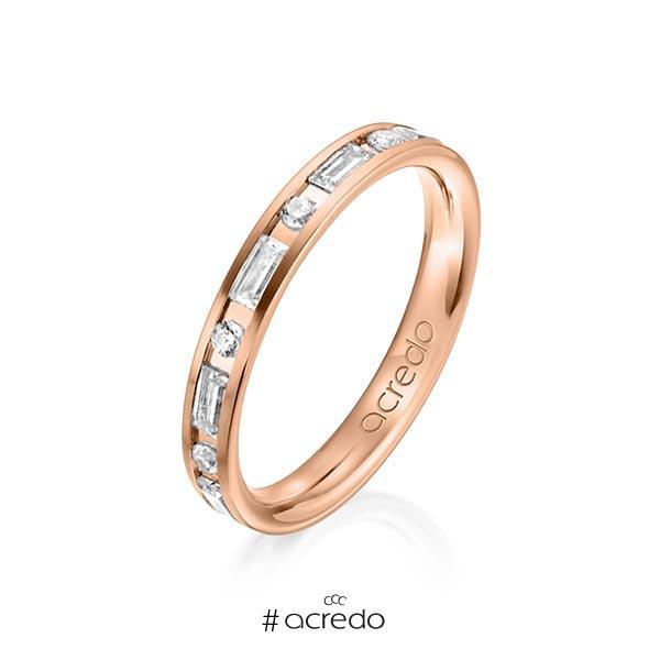 klassischer Trauring/Ehering in Rotgold 585 mit zus. 0,765 ct. Brillant & Baguette-Diamant tw, si tw, vs von acredo