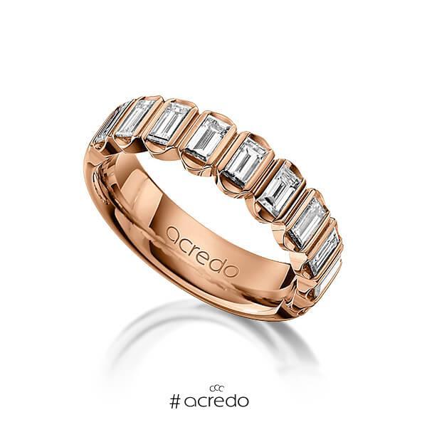 klassischer Trauring/Ehering in Rotgold 585 mit zus. 1,2 ct. Baguette-Diamant tw, vs von acredo