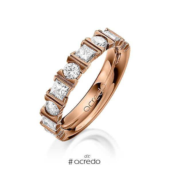 klassischer Trauring/Ehering in Rotgold 585 mit zus. 1,2 ct. Brillant & Prinzess-Diamant tw, vs von acredo