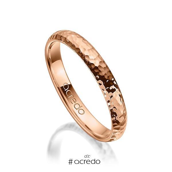 klassischer Trauring/Ehering in Rotgold 750 gehämmert Struktur von acredo