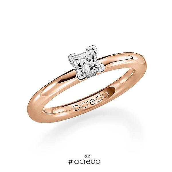klassischer Trauring/Ehering in Rotgold 750 mit 0,4 ct. Prinzess-Diamant tw, vs von acredo