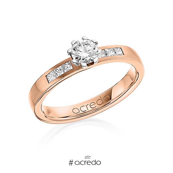klassischer Trauring/Ehering in Rotgold 750 mit 0,4 ct. + zus. 0,18 ct. Brillant & Prinzess-Diamant tw, vs tw, si von acredo