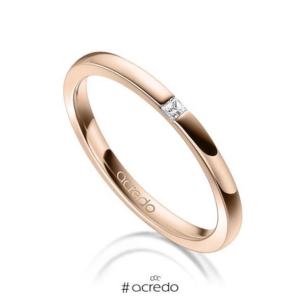 klassischer Trauring/Ehering in Rotgold 750 mit zus. 0,03 ct. Prinzess-Diamant tw, si von acredo