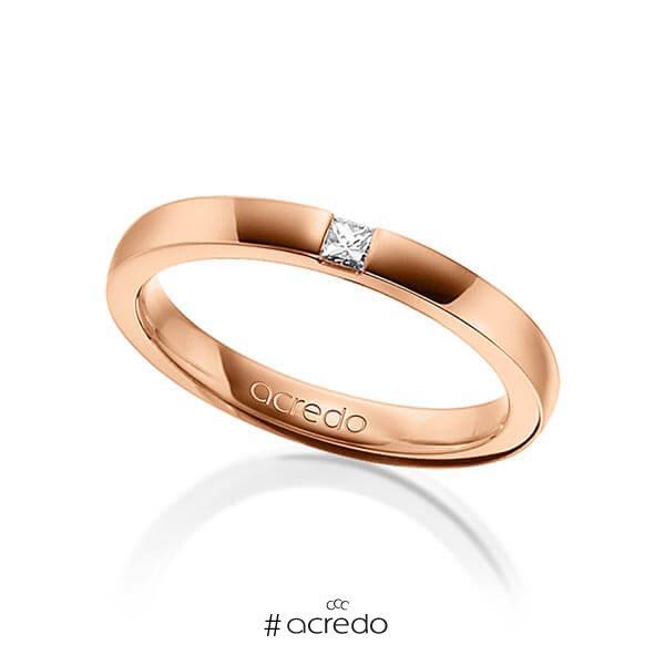 klassischer Trauring/Ehering in Rotgold 750 mit zus. 0,07 ct. Prinzess-Diamant tw, si von acredo