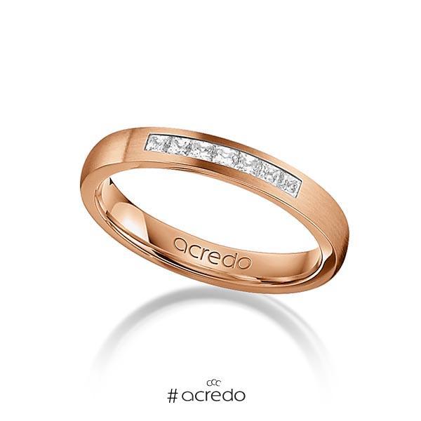 klassischer Trauring/Ehering in Rotgold 750 mit zus. 0,21 ct. Prinzess-Diamant tw, si von acredo