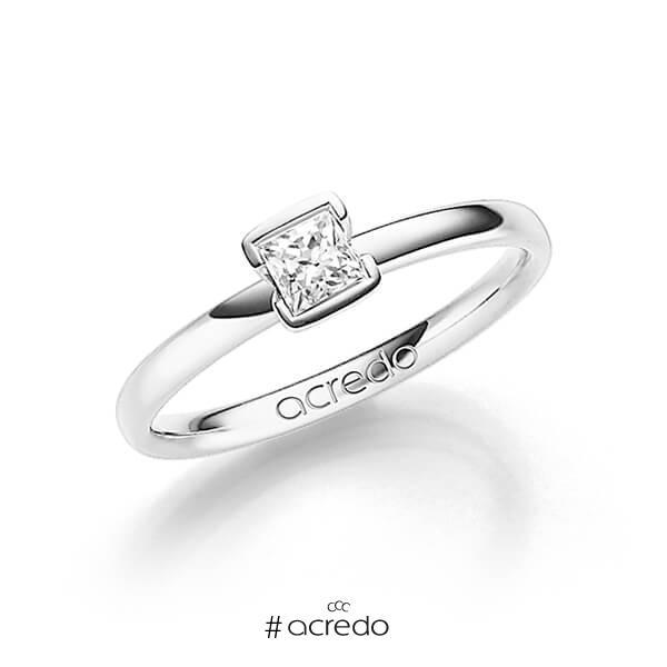 klassischer Trauring/Ehering in Weißgold 585 mit 0,3 ct. Prinzess-Diamant tw, vs von acredo
